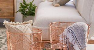 Chevron Rose Gold Metal Basket