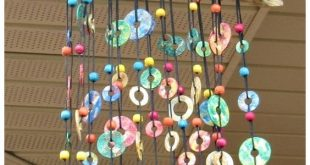 Colorful Metal Washer Wind Chime - what a beautiful craft/diy project to hang up...