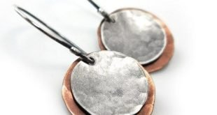 Mixed Metal Earrings, Copper Sterling Silver Dangle Hammered Disc Boho | Gheet -...