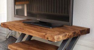 Rustic oak tv stand unit cabinet metal Z frame design industrial chic
