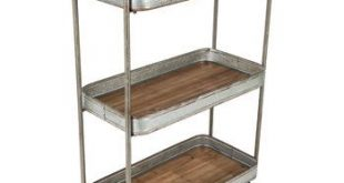 Three-Tiered Galvanized Metal Serving Cart