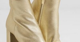 Saint Laurent - Lou Lou Metallic Textured-leather Ankle Boots - Gold