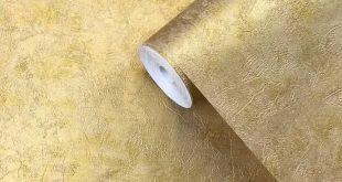 76039 Wallpaper Gold Metallic Plain Concrete Textured embossed plaster