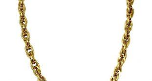 1stdibs 14K Gold 14 Karat Polished Textured Cable Link Necklace
