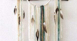Große Traumfänger Wandbehang, Boho Dreamcatcher für Schlafzimmer, Boho Wandkunst, weiße Traumfänger, Faser Kunst moderne Boho Home Decor