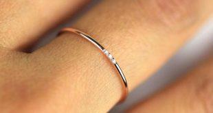 JSVConcept - Minimalistischer Diamantring, 14 Karat massives Gold-Diamantband, 1 mm