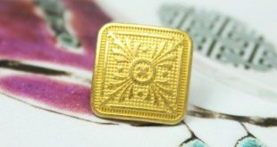 Lot 10 Pieces of Baroque Motif Texture Square Gold Metal Shank Buttons, 0.43 inch