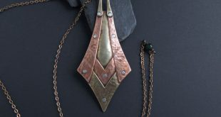Mixed Metal Chevron Pendant Copper, Brass and Silver Long Necklace Artisan jewelry OOAK