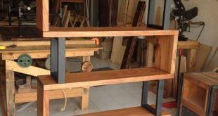 Bücherregal aus Hartholz und Metall – Einzigartiges Holz & Eisen #WoodWorking