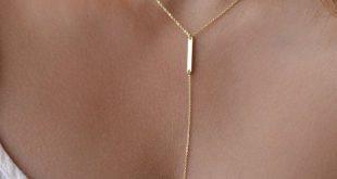 Goldene Dreieck Dreieck Lariat Halskette Halskette von foressti