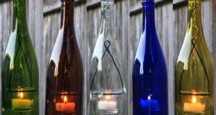 Hanging Lantern Wine Bottle | Tea Light, Votive Candle | Hurricane Lamp, Lighted Wine Bottles, Indoor Outdoor Lighting