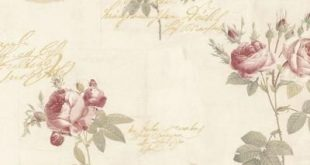 Norwall Script Rose Wallpaper, Red/ Tan/ Metallic Gold
