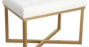 Rectangle Ottoman with White Velvet Tufted Cushion and Gold Metal X Base - HomePop