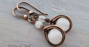White Quartz Earrings - Wire wrapped jewelry handmade - Copper jewelry - gemstone earrings - wire je