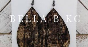 Black Gold Metallic Leather Earrings Hypoallergenic Nickel Free Hooks Earwires Genuine Leather Large