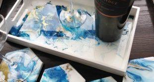Blau und Kupfer handbemalt und Harz beschichtet Tablett mit passenden Untersetzer