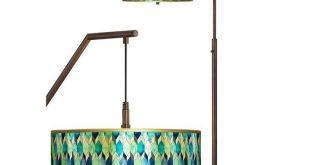 Blue Tiffany-Style Gold Metallic Downbridge Arc Floor Lamp - #65J37 | Lamps Plus
