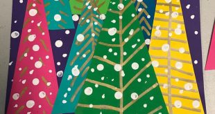 Blue background with white painted on dots and 6 triangle shaped Christmas Trees...