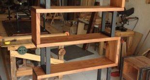 Bücherregal aus Hartholz und Metall, #aus #Bücherregal #Hartholz #Metall #und