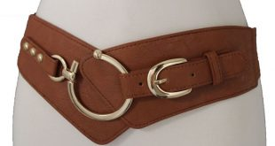 Champagne Brown Faux Leather Stretch Band Gold Metal Stud Big Hook Buckle New Wo...