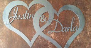 Custom Raw Metal Names in Hearts - Rustic Style Wedding Decor - Large Metal Sign