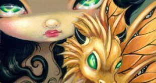 Faces of Faery 95 gold metallic dragonling big eye fairy face art print by Jasmine Becket-Griffith 6x6