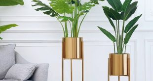 Floor Vase Gold Metal Shelf Vase For Dried Flowers Pots planters centerpiece Lobby Home Deco ...