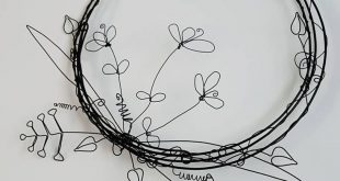 Floral Wire Wreath, New home gift, wall art, garden art