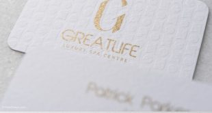 GOLD ON WHITE LUXURY TEXTURED BUSINESS CARD TEMPLATE - GREATLIFE LUXURY SPA CENTRE