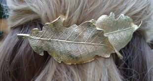 Gold Leaf Barrette woodland hair clip layered leaves Boho chic metal Nature Pony Holder bohemian pony clip bespoke accessory simple organic