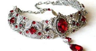 Gothic Choker aus rot - Gothic Schmuck - viktorianischen Swarovski Braut Halsband - Braut Halskette - rote Hochzeit - rote Hochzeitsschmuck