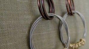 Guitar String Hoop Dangle Earrings // Salvaged Guitar String Mixed Metal Earrings // Recycled Guitar String Wire Wrapped Earrings