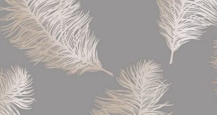 Holden Decor Fawning Feather Grey/Rose Gold Metallic Wallpaper - 12629 - Cottag...