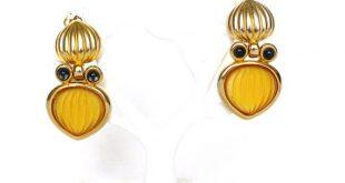 Ohrclips Vintage Ohrclips gold Clip Ohrringe baumelnd