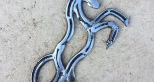Rearing horse, designed and made by Rustic Horseshoe Designs in Parmelia, Wester...