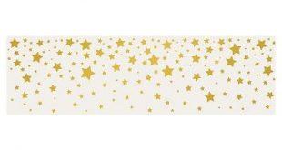 Tempaper - Kids Falling Stars Self-Adhesive Removable Borders + Stripes - Gray & Metallic Gold