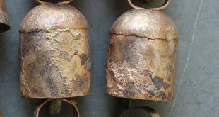 "Vintage Rounded Top Recycled Iron Tin Cow Bells Bronze Color 2.5"" Inches Height Lot Indian Metal Craft"
